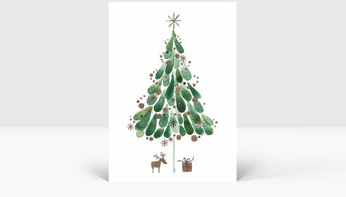Weihnachtskarte Tuschebaum grün, Karte Groß Hoch