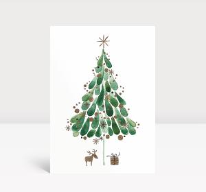 Weihnachtskarte Tuschebaum grün