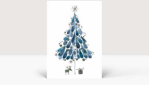 Weihnachtskarte Tuschebaum blau, Karte Groß Hoch