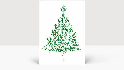 Weihnachtskarte Weihnachtsbaum Grün, Klappkarte Groß Hoch