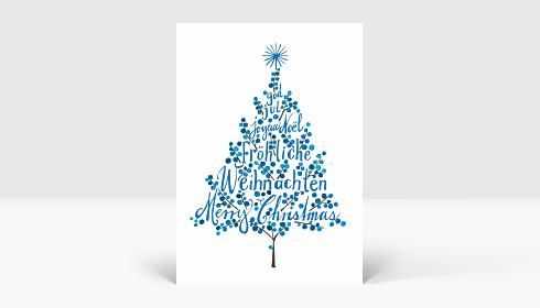 Weihnachtskarte Weihnachtsbaum Blau, Karte A6 Hoch