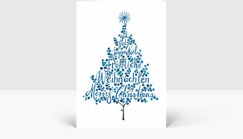 Weihnachtskarte Weihnachtsbaum Blau, Klappkarte Groß Hoch
