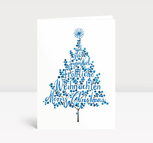 Weihnachtskarte Weihnachtsbaum Blau
