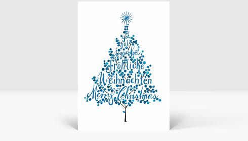 Weihnachtskarte Weihnachtsbaum Blau, Karte Groß Hoch