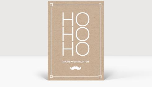 Weihnachtskarte HoHoHo Kraftpapier, Postkarte Groß Hoch