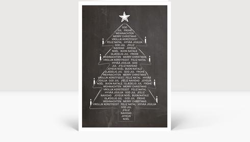 Weihnachtskarte Weihnachtsbaum International auf Kreidetafel, Klappkarte Groß Hoch