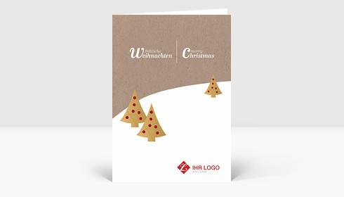 Weihnachtskarte Logo Landschaft auf Karton mit Goldtannen