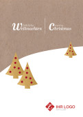 Weihnachtskarte Landschaft auf Karton