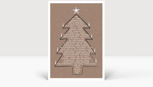 Weihnachtskarte Weihnachtsbaum International Eco, Klappkarte Groß Hoch, Postkarte Groß Hoch