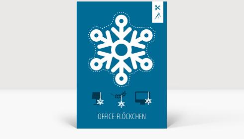 Weihnachtskarte Office-Flöckchen Blau, Klappkarte Groß Hoch, Postkarte Groß Hoch