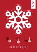 Weihnachtskarte Office-Flöckchen Rot