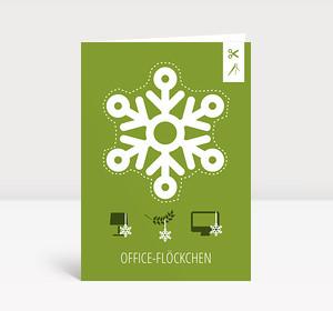 Weihnachtskarte Office-Flöckchen Grün