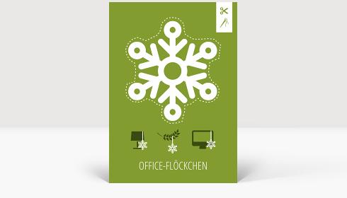 Weihnachtskarte Office-Flöckchen Grün, Klappkarte Groß Hoch, Postkarte Groß Hoch