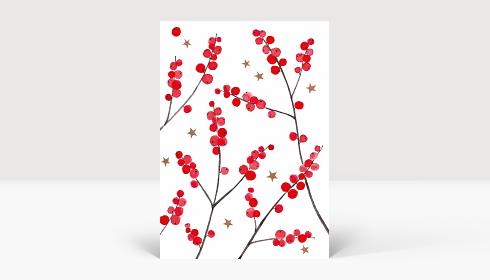 Weihnachtskarte Weihnachtsbeeren Rot, Postkarte A6 Hoch