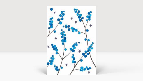 Weihnachtskarte Weihnachtbeeren Blau, Postkarte A6 Hoch