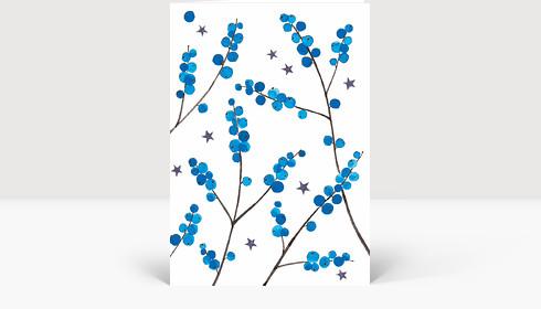 Weihnachtskarte Weihnachtbeeren Blau, Klappkarte Groß Hoch