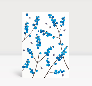 Weihnachtskarte Weihnachtbeeren Blau