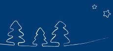 Weihnachtskarte Tannenbäume gezeichnet blau