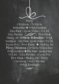 Weihnachtskarte Internationale Weihnachtskugel auf Kreidetafel