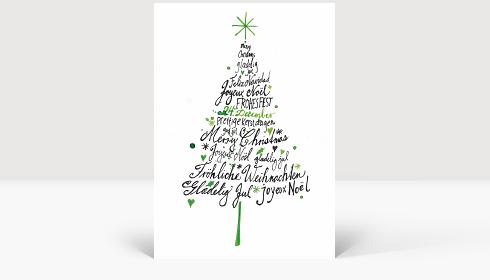 Weihnachtskarte Internationale Weihnachtsgrüße gezeichnet Weihnachtsbaum, Klappkarte Groß Hoch, Postkarte Groß Hoch