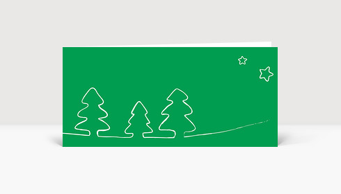 Weihnachtskarte Tannenbäume gezeichnet grün
