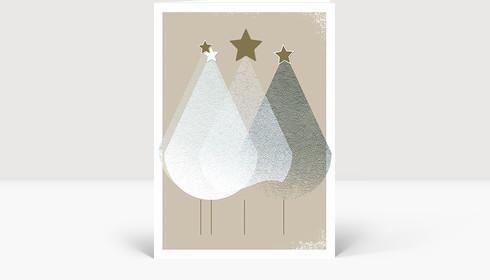 Weihnachtskarte Edle Weihnachtstannen, Klappkarte Groß Hoch