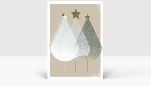 Weihnachtskarte Edle Weihnachtstannen, Klappkarte Groß Hoch, Postkarte Groß Hoch