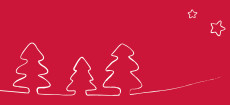Weihnachtskarte Tannenbäume gezeichnet red