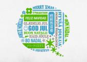 Weihnachtskarte Sprechblase blau grün