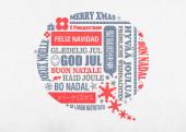 Weihnachtskarte Sprechblase orange grau