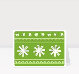Weihnachtskarte Schneeflocken grün