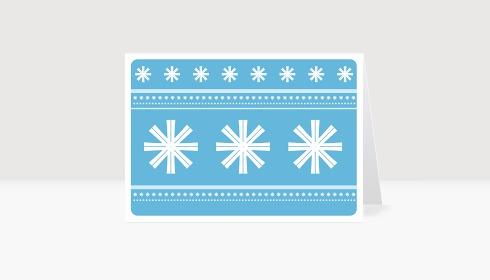 Weihnachtskarte Schneeflocken auf blau