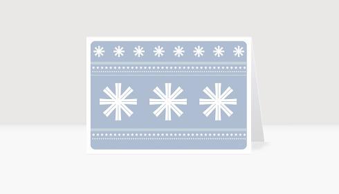 Weihnachtskarte Schneeflocken auf violett