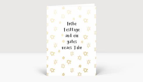 Weihnachtskarte Kritzelsternchen Deutsch Gold