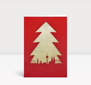 Weihnachtskarte Köln Baum rot