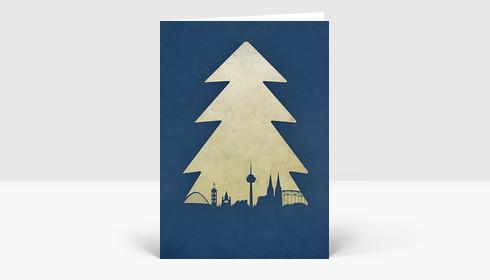 Weihnachtskarte Köln Baum blau