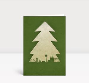 Weihnachtskarte Köln Baum grün