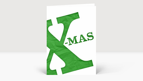 Weihnachtskarte Merry X-Mas grünes Papier