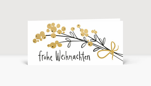 Weihnachtskarte Weihnachtsbeeren Gold