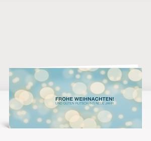 Weihnachtskarte Schneegestöber Blau