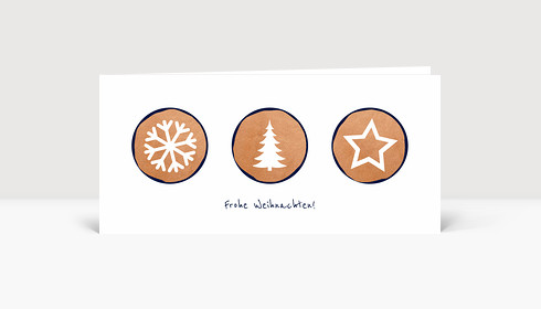 Weihnachtskarte Weihnachtstrio Kupfer Blau