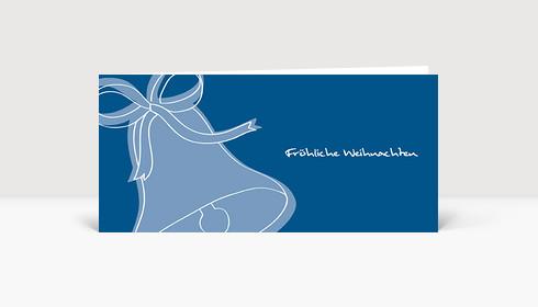 Weihnachtskarte Weihnachtsglocke blau