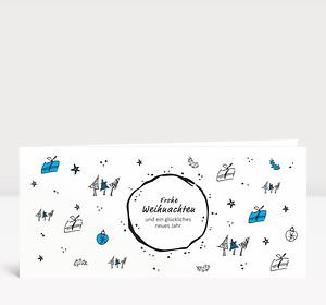 Weihnachtskarte Christmas Scribble Blau