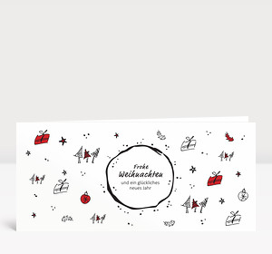 Weihnachtskarte Christmas Scribble Rot