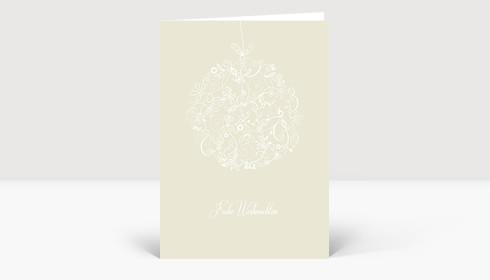 Weihnachtskarte Floralkugel weiß auf beige