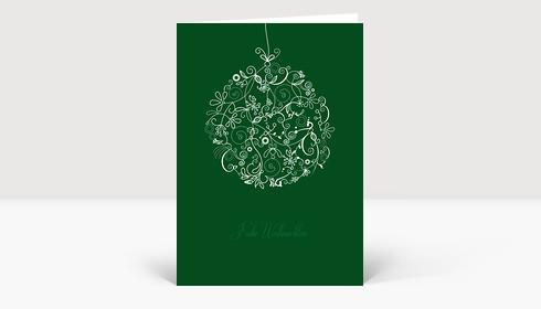 Weihnachtskarte Floralkugel weiß auf dunkelgrün