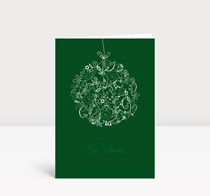 Weihnachtskarte Floralkugel grün