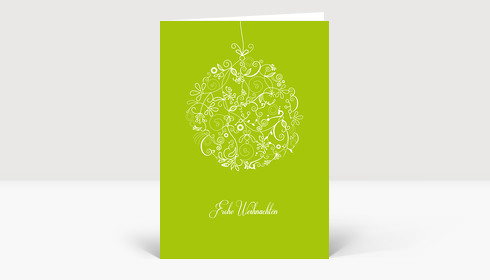 Weihnachtskarte Floralkugel weiß auf hellgrün