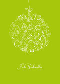 Weihnachtskarte Floralkugel hellgrün
