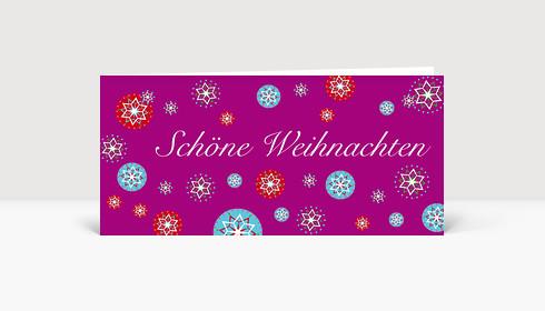 Weihnachtskarte Runde Schneeflocken auf lilafarbener Karte